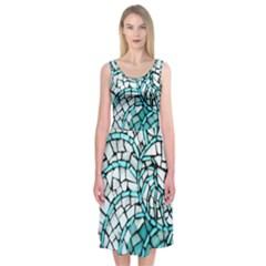 Glass Mosaics Blue Green Midi Sleeveless Dress