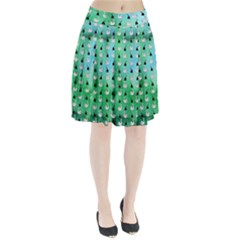 Goose Swan Hook Blue Green Pleated Skirt