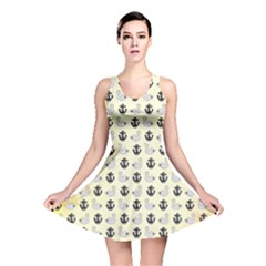 Goose Swan Anchor Gold Reversible Skater Dress