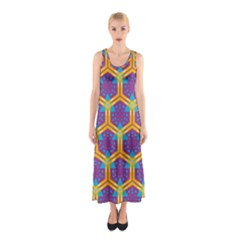 Yellow honeycombs pattern                                                          Full Print Maxi Dress