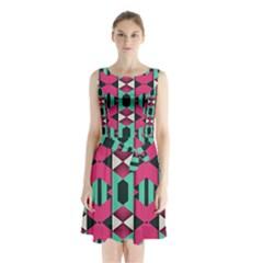 Green Pink Shapes           Sleeveless Waist Tie Dress