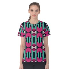 Green pink shapes                                 Women s Cotton Tee