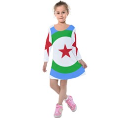 Roundel of Djibouti Air Force Kids  Long Sleeve Velvet Dress