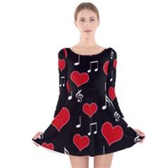Love song Long Sleeve Velvet Skater Dress