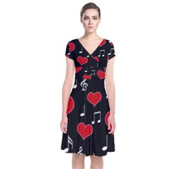 Love song Short Sleeve Front Wrap Dress