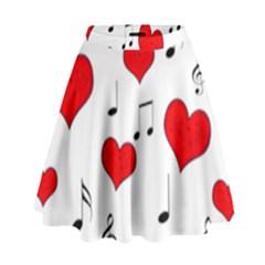 Love song pattern High Waist Skirt