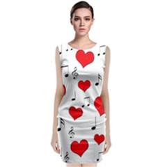 Love song pattern Sleeveless Velvet Midi Dress