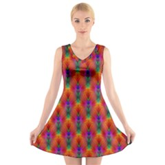 Apophysis Fractal Owl Neon V Neck Sleeveless Skater Dress