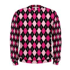 Argyle Pattern Pink Black Men s Sweatshirt