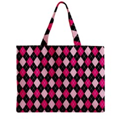 Argyle Pattern Pink Black Zipper Mini Tote Bag