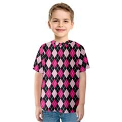 Argyle Pattern Pink Black Kids  Sport Mesh Tee