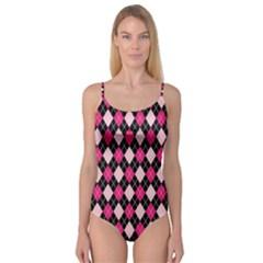 Argyle Pattern Pink Black Camisole Leotard