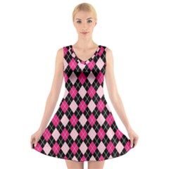 Argyle Pattern Pink Black V Neck Sleeveless Skater Dress