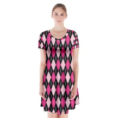 Argyle Pattern Pink Black Short Sleeve V Neck Flare Dress