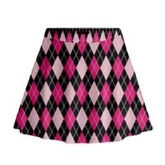Argyle Pattern Pink Black Mini Flare Skirt
