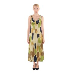 Army Camouflage Pattern Sleeveless Maxi Dress