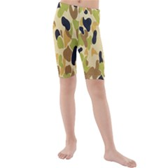 Army Camouflage Pattern Kids  Mid Length Swim Shorts