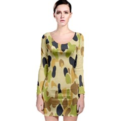 Army Camouflage Pattern Long Sleeve Bodycon Dress