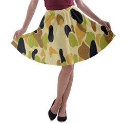 Army Camouflage Pattern A-line Skater Skirt