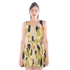 Army Camouflage Pattern Scoop Neck Skater Dress