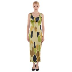 Army Camouflage Pattern Fitted Maxi Dress