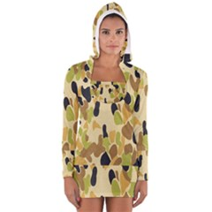 Army Camouflage Pattern Women s Long Sleeve Hooded T-shirt