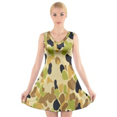 Army Camouflage Pattern V Neck Sleeveless Skater Dress