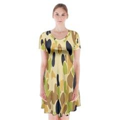 Army Camouflage Pattern Short Sleeve V-neck Flare Dress