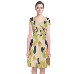 Army Camouflage Pattern Short Sleeve Front Wrap Dress