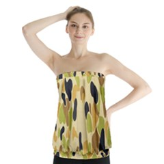 Army Camouflage Pattern Strapless Top