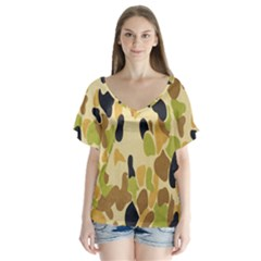 Army Camouflage Pattern Flutter Sleeve Top