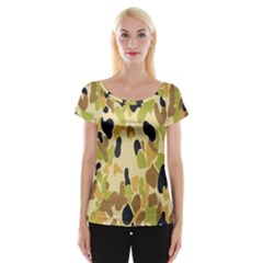 Army Camouflage Pattern Women s Cap Sleeve Top