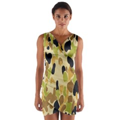 Army Camouflage Pattern Wrap Front Bodycon Dress