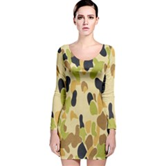 Army Camouflage Pattern Long Sleeve Velvet Bodycon Dress