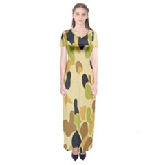 Army Camouflage Pattern Short Sleeve Maxi Dress