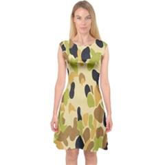 Army Camouflage Pattern Capsleeve Midi Dress