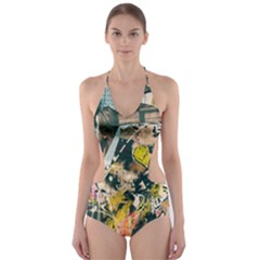 Art Graffiti Abstract Vintage Cut Out One Piece Swimsuit
