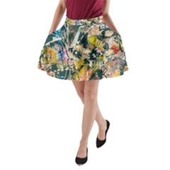 Art Graffiti Abstract Vintage A Line Pocket Skirt