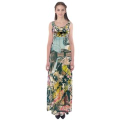 Art Graffiti Abstract Vintage Empire Waist Maxi Dress