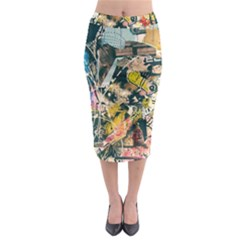 Art Graffiti Abstract Vintage Midi Pencil Skirt