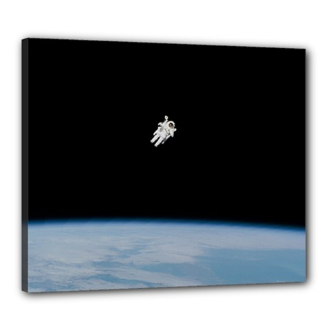 Astronaut Floating Above The Blue Planet Canvas 24  X 20