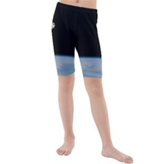 Astronaut Floating Above The Blue Planet Kids  Mid Length Swim Shorts