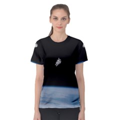 Astronaut Floating Above The Blue Planet Women s Sport Mesh Tee