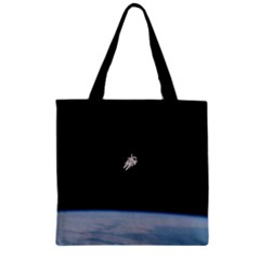 Astronaut Floating Above The Blue Planet Zipper Grocery Tote Bag