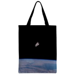 Astronaut Floating Above The Blue Planet Zipper Classic Tote Bag