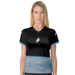 Astronaut Floating Above The Blue Planet Women s V Neck Sport Mesh Tee