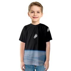Astronaut Floating Above The Blue Planet Kids  Sport Mesh Tee