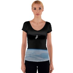 Astronaut Floating Above The Blue Planet Women s V-Neck Cap Sleeve Top