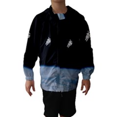 Astronaut Floating Above The Blue Planet Hooded Wind Breaker (Kids)