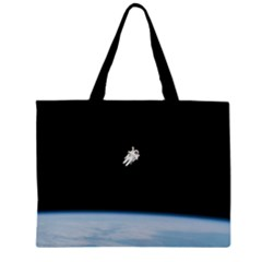 Astronaut Floating Above The Blue Planet Large Tote Bag